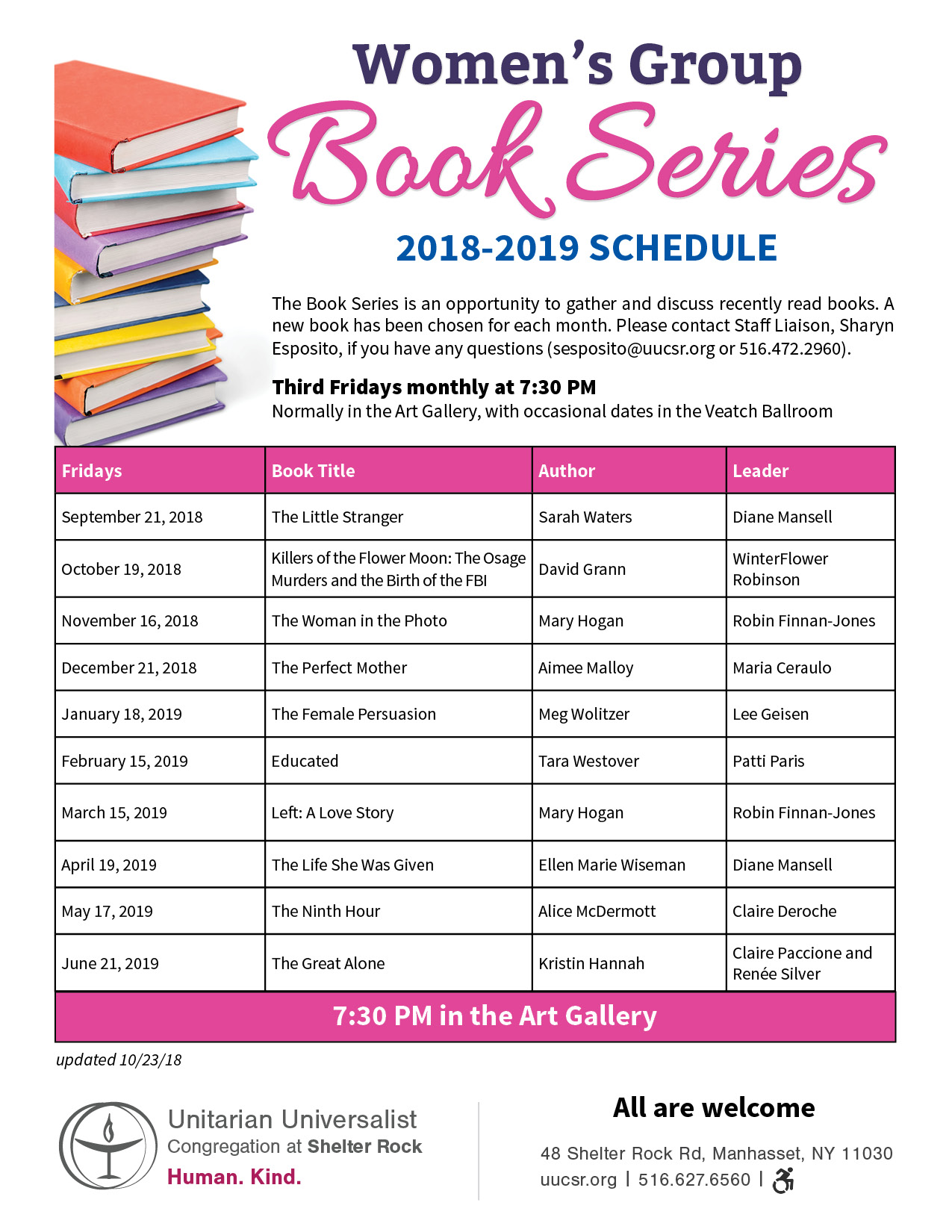 Women's Group Book Series 2018-2019 Schedule